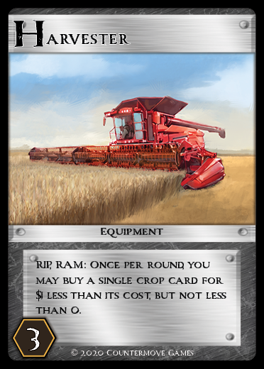 Harvester card for Agronomy the game.